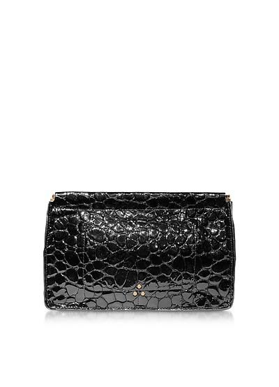 Popoche Clic Clac Black Croco Embossed Patent Leather Clutch - Jerome Dreyfuss