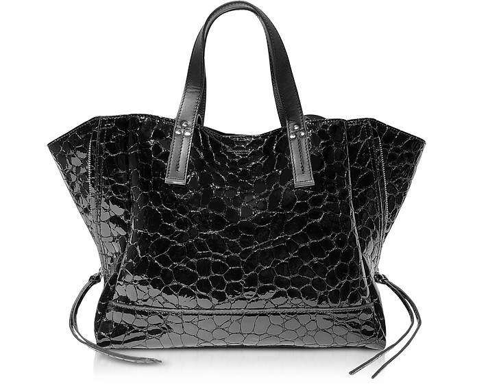 Georges M Croco Embossed Patent Leather Tote Bag - Jerome Dreyfuss