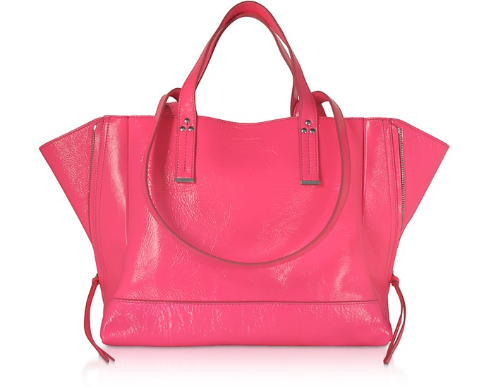 Georges M Shopper in Pelle Lucida Cocco Fucsia - Jerome Dreyfuss