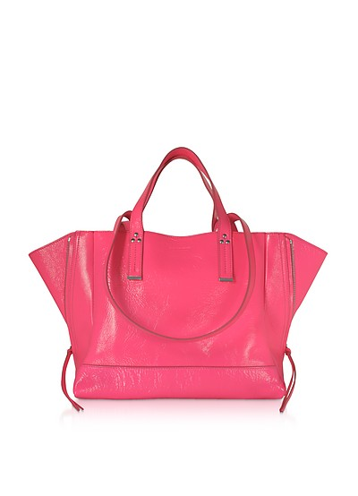 Georges M Croco Fuchsia Glossy Leather Tote Bag - Jerome Dreyfuss