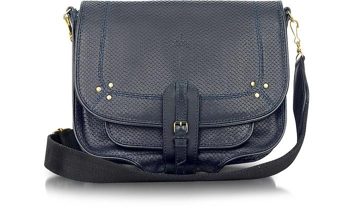 612452d3442 Fredo - Marine Blue Embossed Leather Shoulder Bag