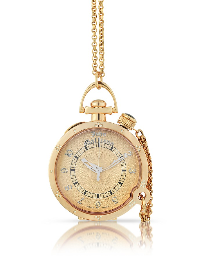 L'Elu 3H - Women's Diamond Rose Gold Plated Watch w/ Chain - John Galliano