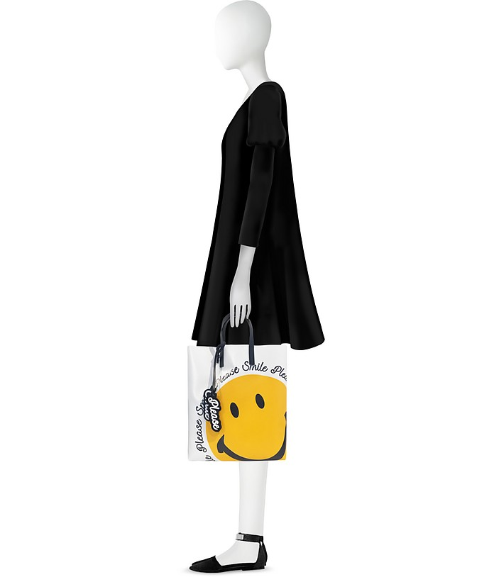 Shopper in PVC Bianco Ottico con Smile Joshua Sanders BKYfp