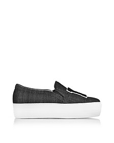 Black Denim LA Slip on Sneakers - Joshua Sanders
