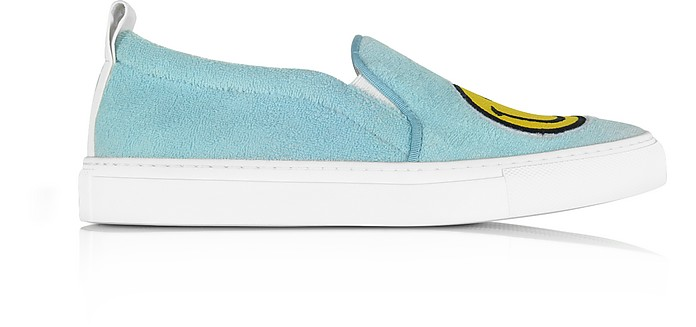 Light Blue Fleece and Leather Smile Slip on Sneakers - Joshua Sanders