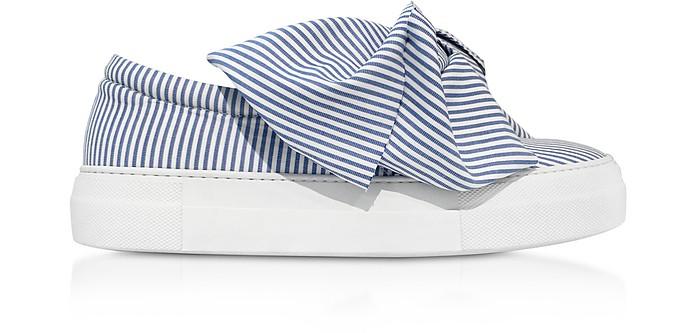 Skinny Stripes Bow Cotton Slip on Sneakers - Joshua Sanders