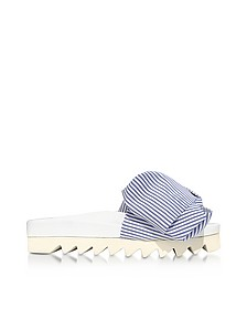 Skinny Stripes Bow Cotton Slides Sandals - Joshua Sanders