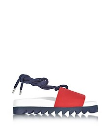 Red Canvas Sailor Flatform Sandals - Joshua Sanders