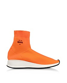 Fly To Mars Neon Orange Nylon Sock Sneakers  - Joshua Sanders