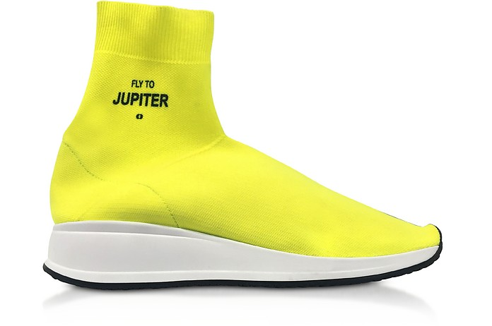 Fly To Jupiter Neon Yellow Nylon Sock Sneakers - Joshua Sanders