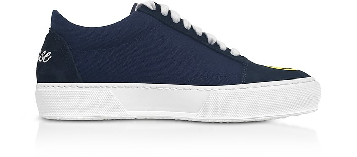 Blue Cotton and Leather Smile Embroidery Lace Up Sneakers - Joshua Sanders