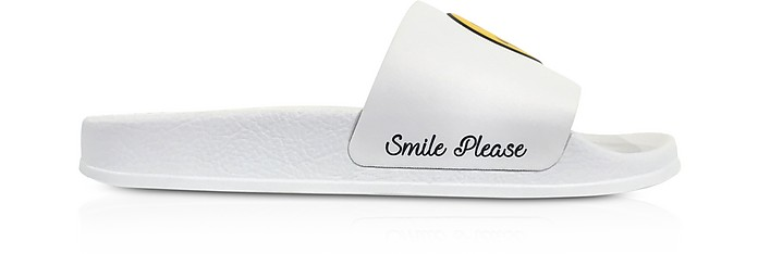 White Smile Rubber Slide Sandals - Joshua Sanders