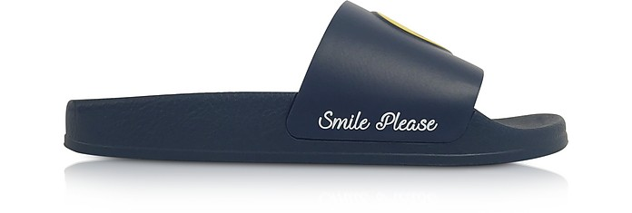 Blue Smile Rubber Slide Sandals - Joshua Sanders