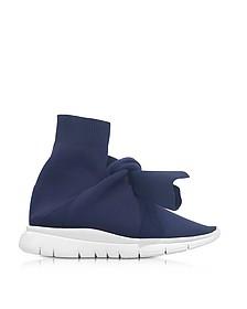 Knot Sneakers in Nylon Elasticizzato Blu Notte - Joshua Sanders