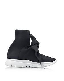 Sneakers Sock Femme en Nylon Noir avec Nœud  - Joshua Sanders