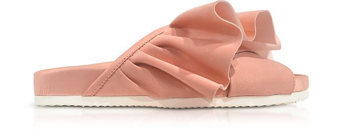 Sandale aus Satin in rosa mit Rüschen und Gummisohle - Joshua Sanders