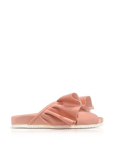 Pink Satin Ruffle Slide Sandals - Joshua Sanders