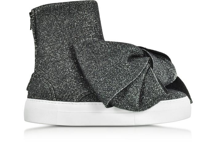 Sneakers High Top in Tessuto Lurex Grigio Antracite con Maxi Fiocco - Joshua Sanders
