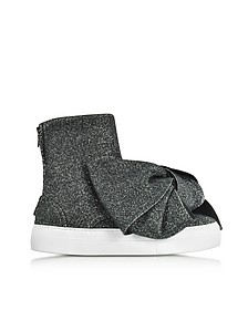 Black Lurex Bow Slip on Sneakers - Joshua Sanders