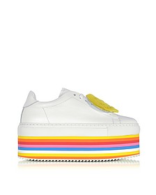 White Leather Rainbow Flatform Smile Sneakers w/Socks - Joshua Sanders