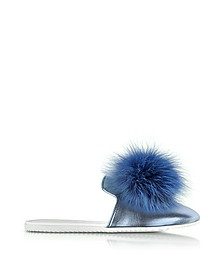 Blue Laminated Leather Pom Pom Mule - Joshua Sanders