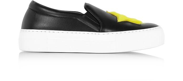 Star & Heart Black Leather Slip On Sneaker - Joshua Sanders