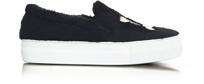 LA Black Synthetic Fur Slip On Sneaker - Joshua Sanders
