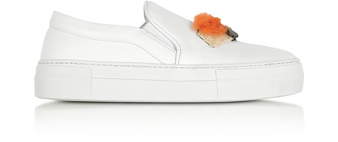 Sushi White Leather Slip On Women's Sneakers - Joshua Sanders