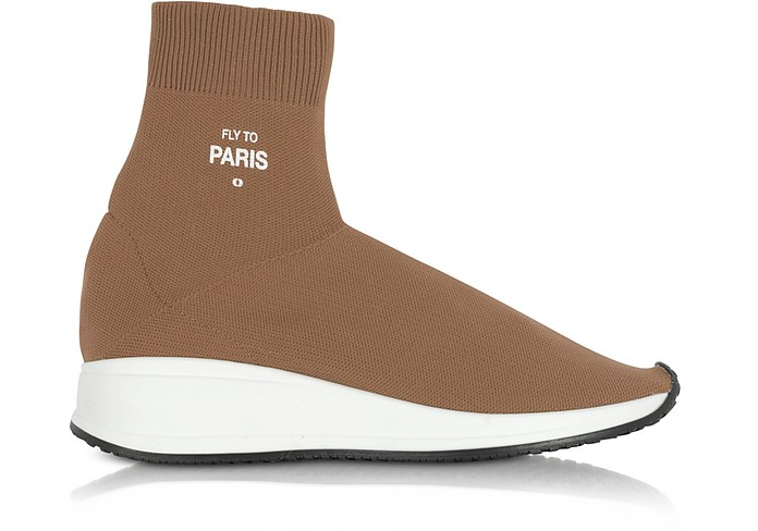 FLY TO PARIS CAMEL NYLON SOCK UNISEX SNEAKERS