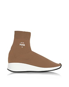 Fly To Paris Camel Nylon Sock Unisex Sneakers - Joshua Sanders