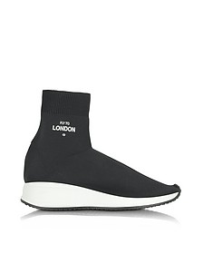 Fly To London Black Nylon Sock Unisex Sneakers - Joshua Sanders