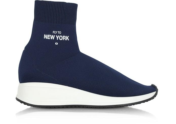 Fly To New York Blue Nylon Sock Unisex Sneakers - Joshua Sanders