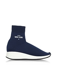 Fly To New York Blue Nylon Sock Unisex Sneakers - Joshua Sanders