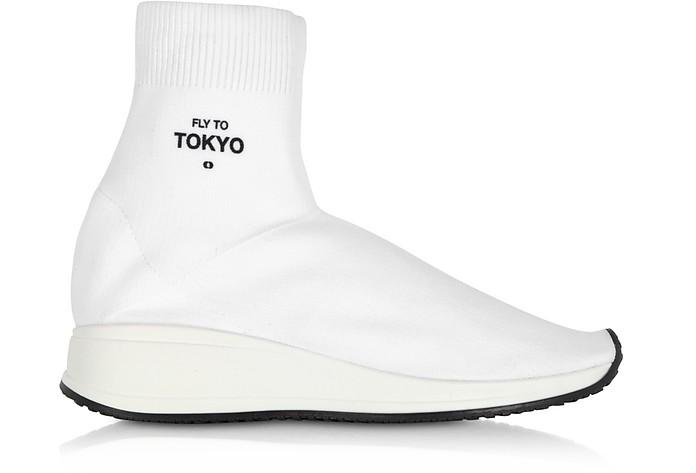 Fly To Tokyo White Nylon Sock Unisex Sneakers - Joshua Sanders