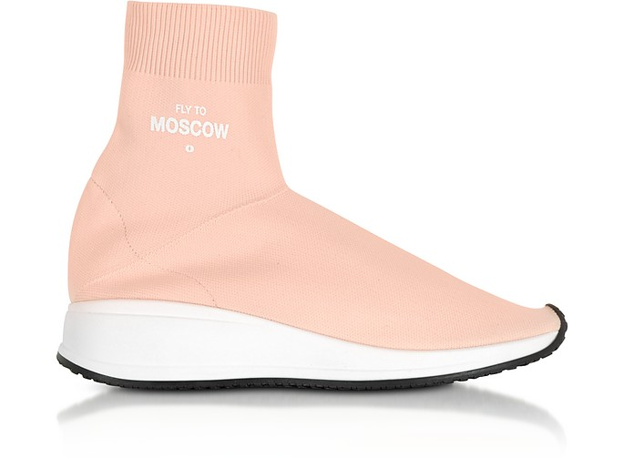 Fly To Moscow Pink Nylon Sock Unisex Sneakers - Joshua Sanders