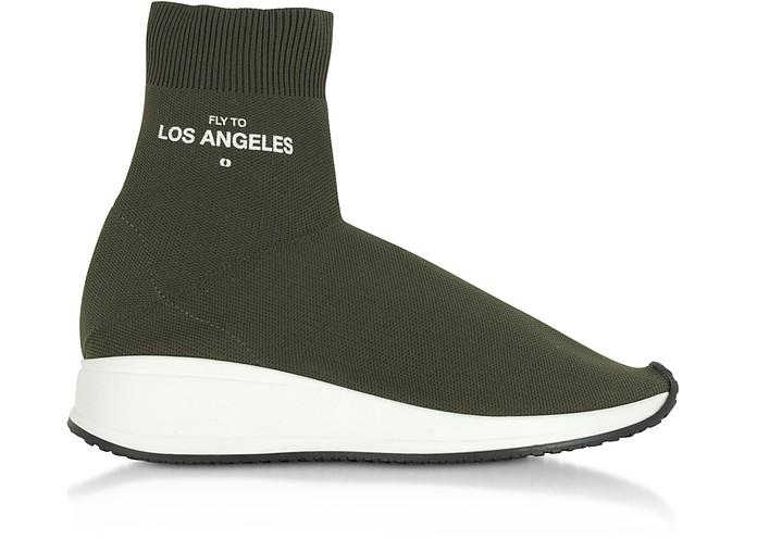 Fly To Los Angeles Green Nylon Sock Unisex Sneakers - Joshua Sanders