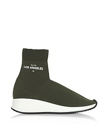 Fly To Los Angeles Green Nylon Sock Unisex Sneakers - Joshua Sanders