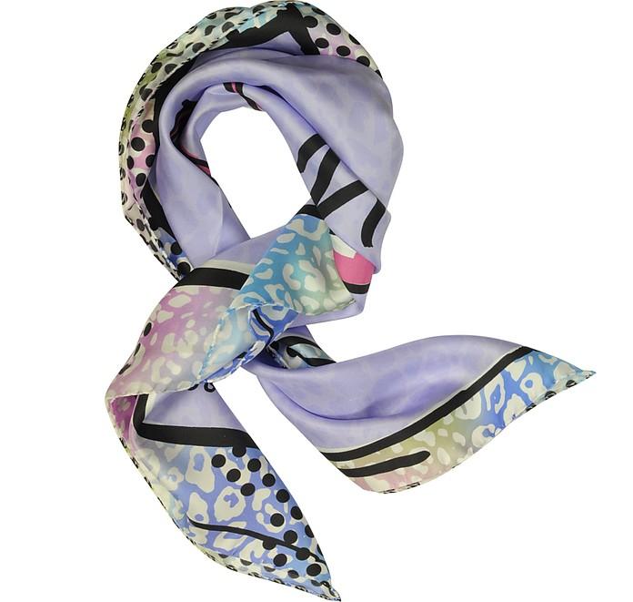 Purple Stiletto Printed Twill Silk Square Scarf  - Jimmy Choo