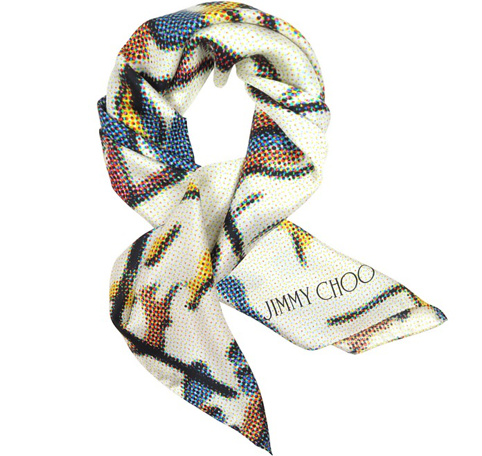Blue and Yellow Polkadots Silk Square Scarf - Jimmy Choo