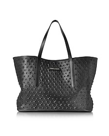 Pimlico Black Grainy Leather Tote w/Embossed Stars - Jimmy Choo