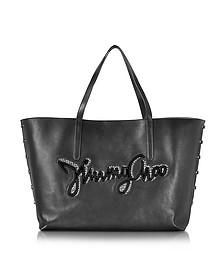 Pimlico Rock Biker Black Leather Tote w/Logo - Jimmy Choo