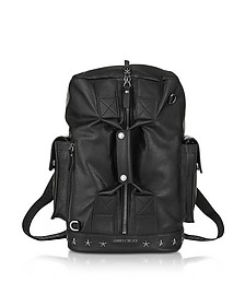 Arlo BLS Black Leather Convertible Backpack Duffle Bag w/Gunmetal Hardware - Jimmy Choo