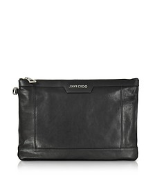 Derek Black Leather Medium Clutch - Jimmy Choo