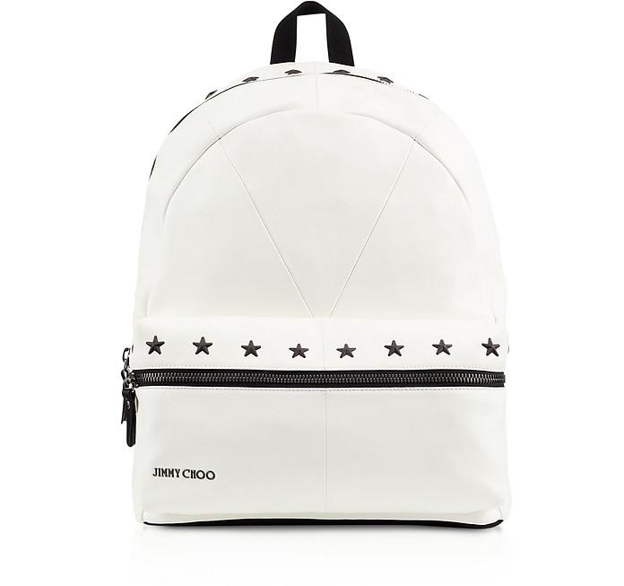 White/Black Biker Leather Large Backpack w/Stars - Jimmy Choo