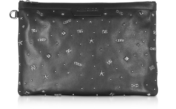 Black Leather DEREK Medium Clutch - Jimmy Choo