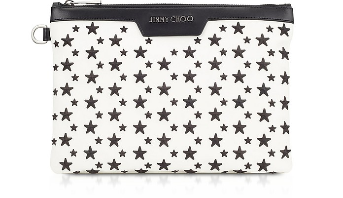 White & Black DEREK/S Small Clutch w/Stars - Jimmy Choo