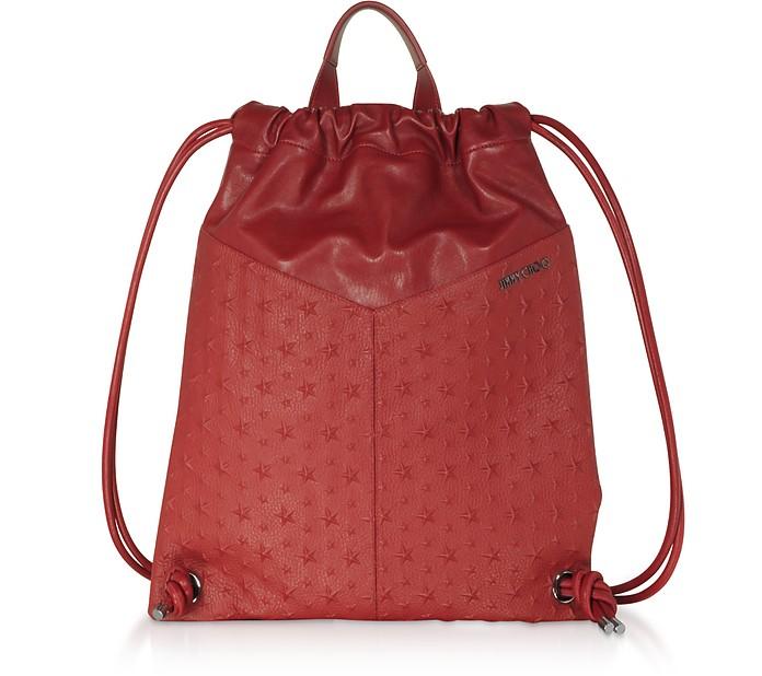 Red Leather Embossed Stars MARLON Medium Backpack - Jimmy Choo