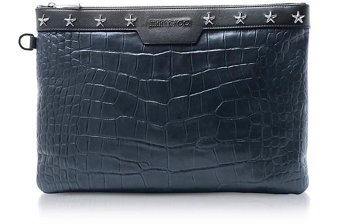 Navy Blue Croco Embossed Leather Derek Medium Clutch - Jimmy Choo