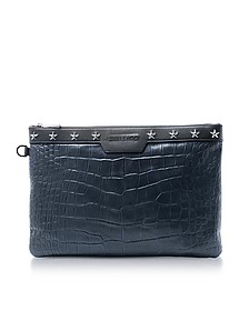 Navy Blue Croco Embossed Leather Derek Medium Clutch - Jimmy Choo