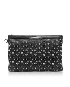 Stars Studded Black Leather Derek Clutch - Jimmy Choo